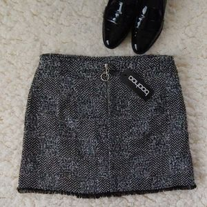 boohoo Freyed Hem Woven Check Mini Skirt NWT